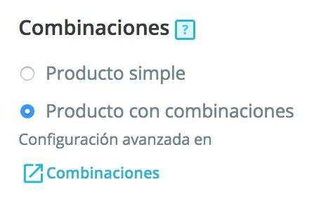 Zugriff auf die Seite des Produkts Kombinationen erstellen
