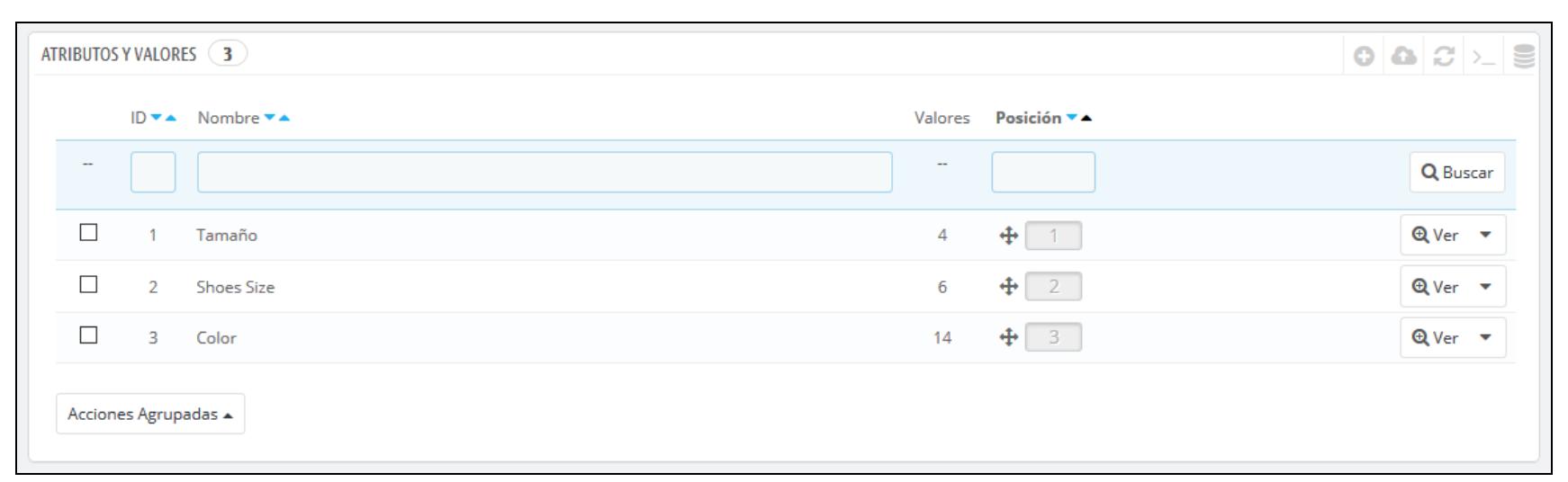 Alle generierten Attribute werden in einer Liste angezeigt.