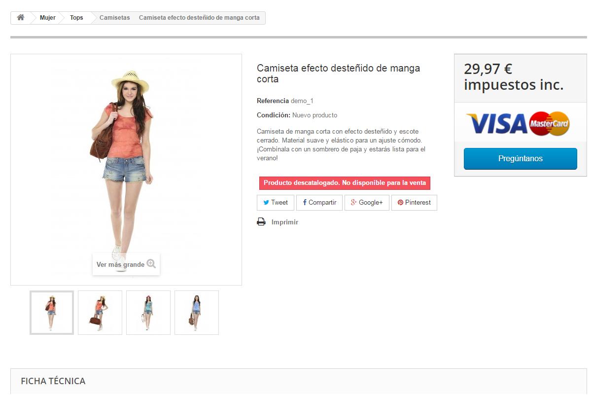 pagina de producto descatalogado no disponible para la compra