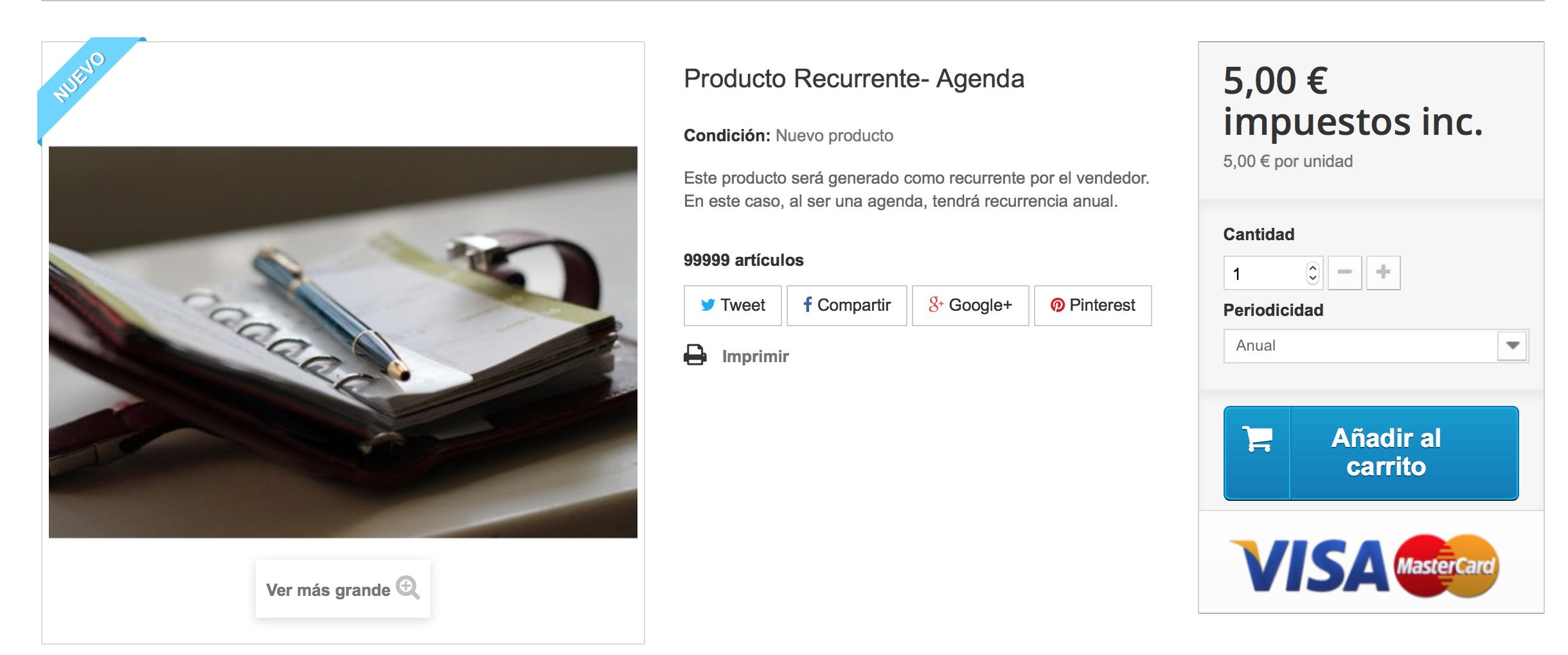 Producto creado como recurrente con atributos desde el admin