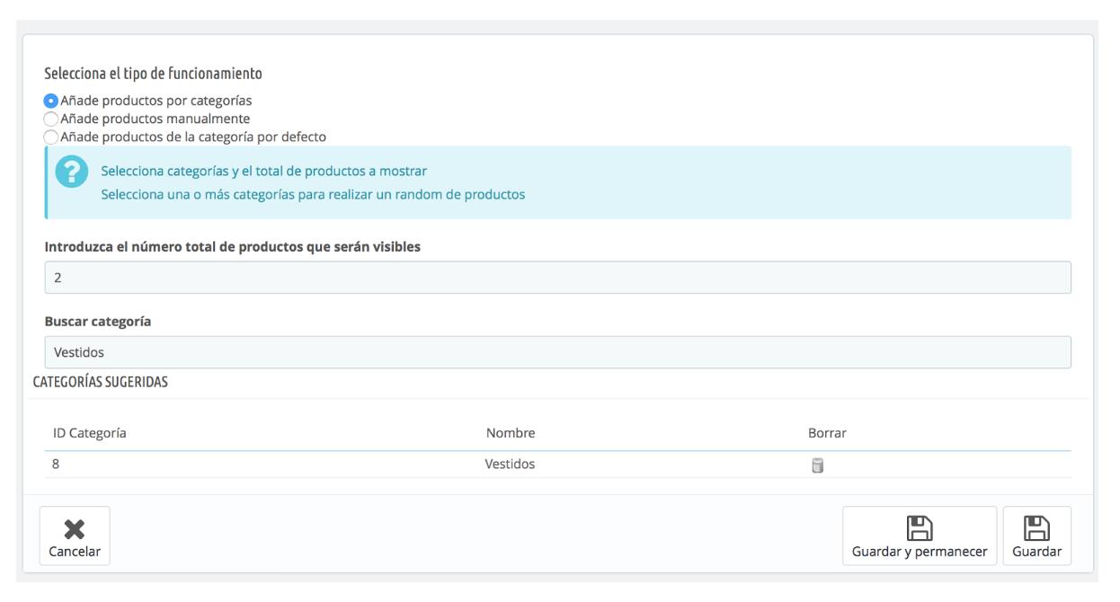 el modulo selecciona los productos de la categoria que indiques