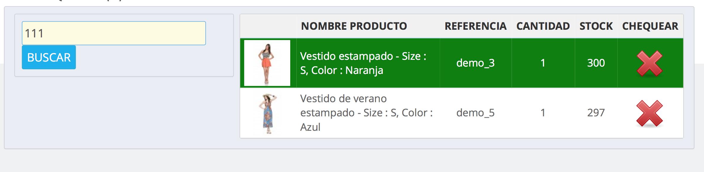 referencia correcta producto en verde listo para validar