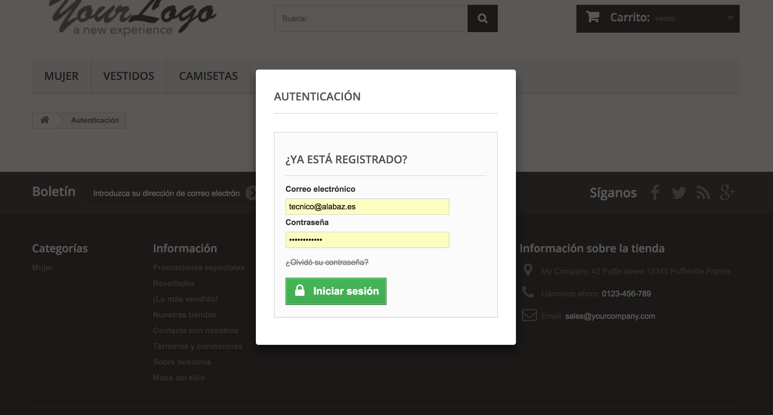 megaprivateshop permite ocultar la opción de crear una nueva cuenta