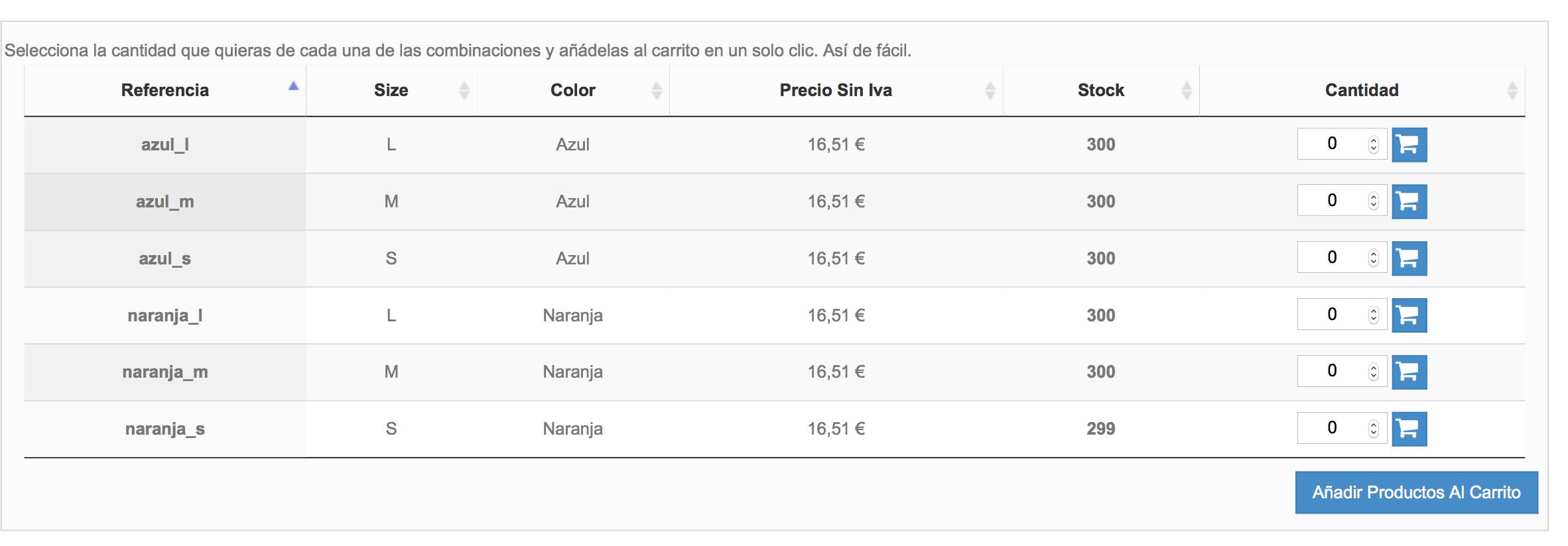 Tabla con referencia,  precio sin IVA, cantidad de stock, carrito línea y total, y sin filtro: