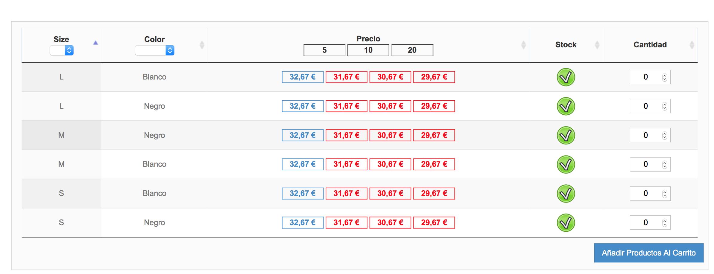 tabla de tipo combinación con descuento por cantidad