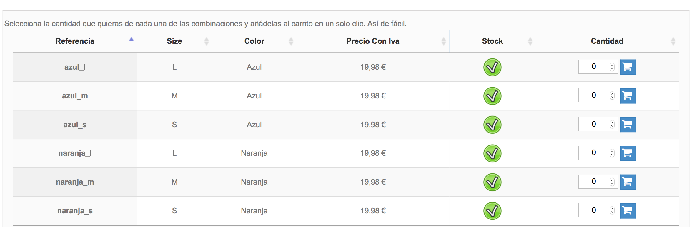 Tabla con referencia, precio con IVA incluido, stock mostrado mediante icono, el carrito por línea y filtro activo: