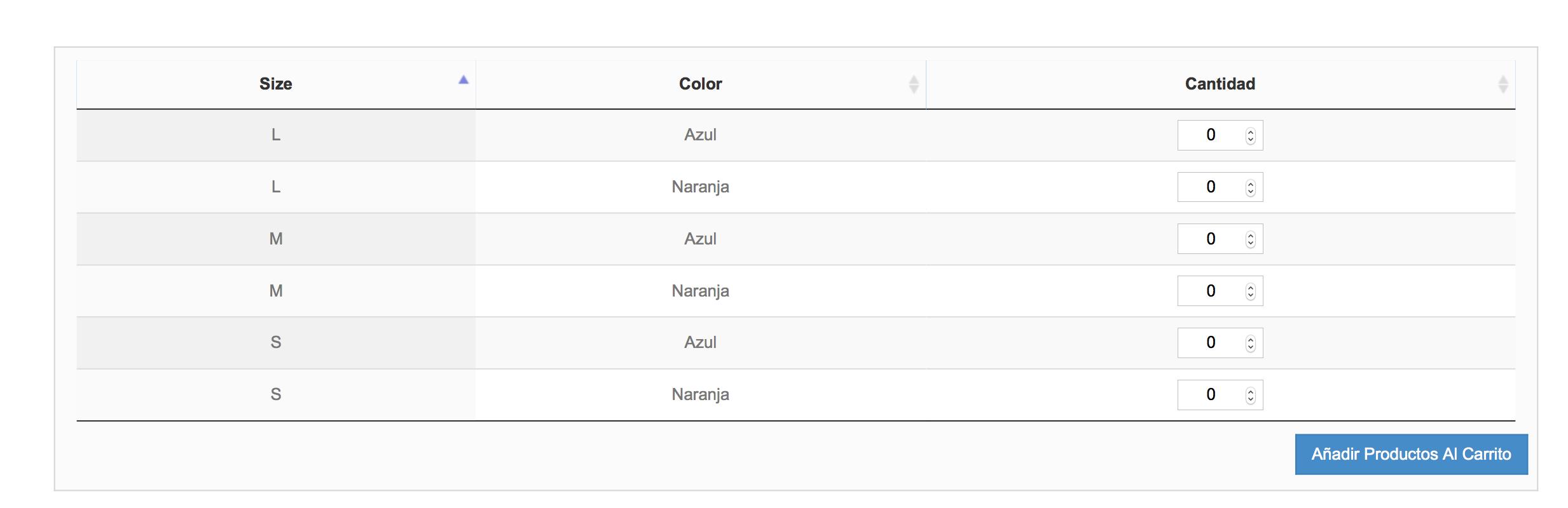 tabla de combinación sin referencia, sin precio,sin carrito por linea y sin filtro