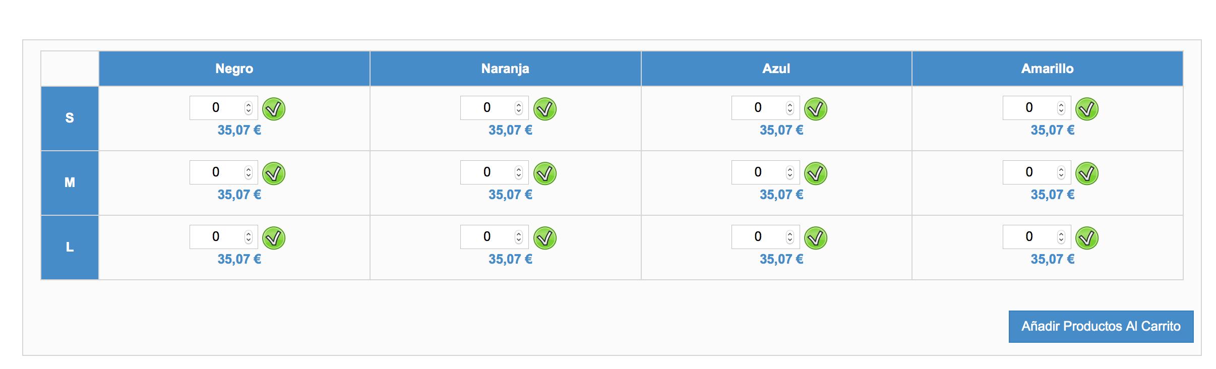 tabla grupos Precio con IVA y stock mediante icono: