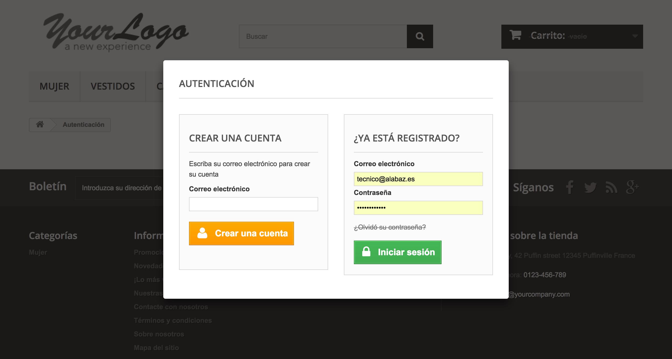 muestra el acceso es una ventana modal con la web de fondo