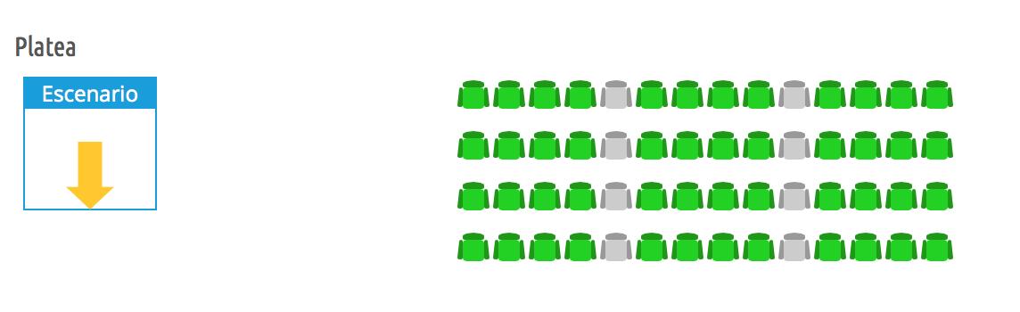 zona de asientos en la platea desde el back